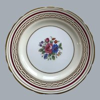 Aynsley  ruby  scalloped bread and butter plate.