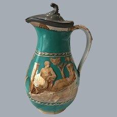 Antique Staffordshire Furnival syrup pitcher  greek Roman warrior goddess angel pewter lid