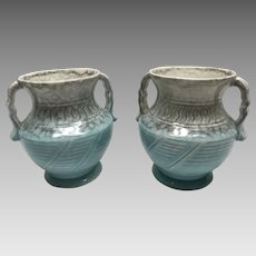 Pair Beswick Art Deco vases 1930's  #495 turquoise and grey