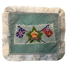 Patriotic display Canada + United Kingdom flags embroidery military memorabilia