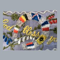 WWII patriotic memorabilia  embroidered flags tatting 6 countries