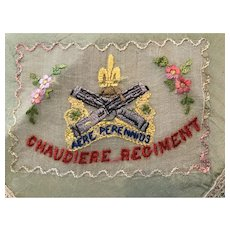 Patriotic embroidered handkerchief Canada's Chaudiere regiment  Quebec