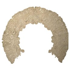 Antique hand stitched Large lace collar