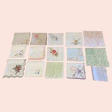 Lot of 15 fabulous vintage handkerchiefs