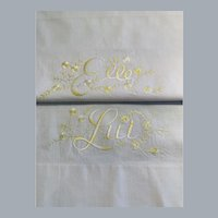 Vintage embroidered pillowcases French - Elle and Lui original sticker