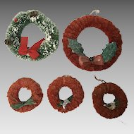 5 vintage red brush chenille Christmas wreathes