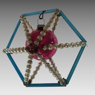 1 antique Czechoslovakian bead and straw Christmas ornament ferris wheel