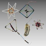 5 Czechoslovakian vintage bead and straw Christmas ornaments