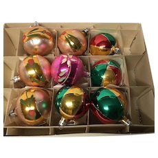 Box of 9 vintage Christmas ornaments from Poland tulips
