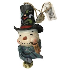 Jim Shore Heartwood Creek snowman with dangle bell hanging Christmas ornament boxed
