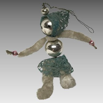 Figural woman vintage glass and  pipe cleaner Christmas ornament