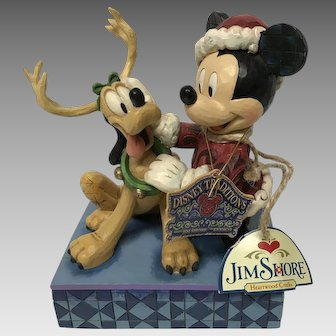 "Walt Disney Showcase Collection ""santa's Best friend"" Mickey and Pluto Christmas ornament"