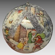 Vintage Western Germany papier mache Christmas candy container ornament.
