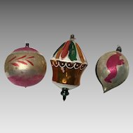 3 large vintage glass Christmas ornaments carousel skier and ball