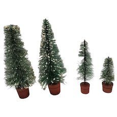 4 vintage bottle brush trees Christmas decor