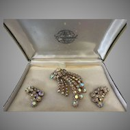 Shooting stars Continental aurora borealis rhinestone brooch earring set original box  - VINTAGE- MINT