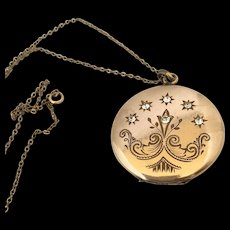 Art nouveau antique locket with crystals pendant and chain for 2 photos
