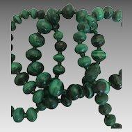 "Malachite beaded necklace slightly  graduated  barrel screw closure 19 """