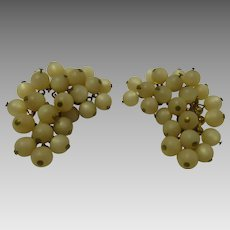 Triad grape cluster earrings 1950's clip-on vintage