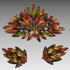 Vintage tiered rhinestone Sherman japanned brooch & earrings orange green & amber HTF