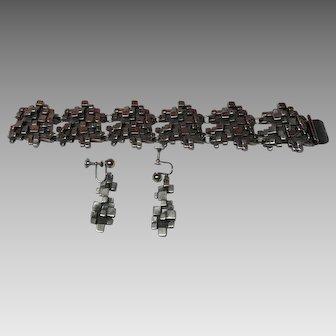 Brutalist modernist bracelet and earring set R. Larin or G.VIDAL