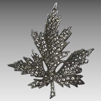 Sparkling Keyes maple leaf crystal clear  rhinestone pin brooch