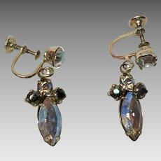 Vintage Keyes screw back dangling clear and black  rhinestone earrings