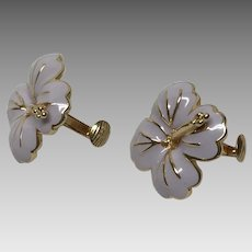 Vintage soft lavender enamel clip-on pansy earrings