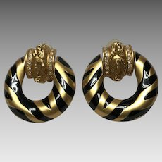 Elizabeth Taylor for Avon 1990 black enamel zebra stripes earrings