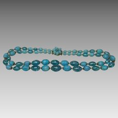 Turquoise and sea blue 2 strand bead necklace Western Germany