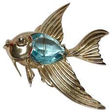 Sterling silver angel fish brooch blue rhinestone jelly belly
