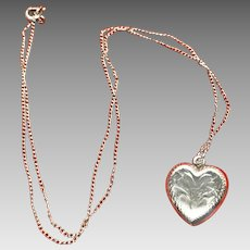 Sterling silver etched heart pendant and chain necklace