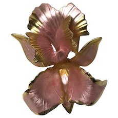 Vintage Cerrito  Original 1982 pink/ gold iris flower orchid brooch