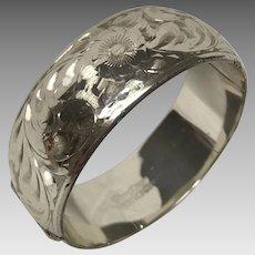 Wide  etched sterling silver bangle bracelet Forstner