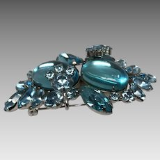 Vintage 1950's Sherman brooch blue turquoise aurora borealis rhinestones