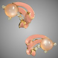 Pink jelly belly and enamel rhinestone screw on earrings Vintage