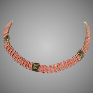 Fabulous vintage pink rhinestone choker necklace + smoky quartz