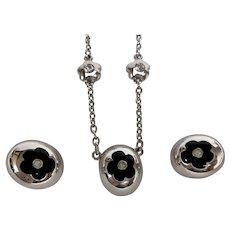 Vintage Courrege black enamel + rhinestone necklace and earrings set egg shaped