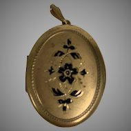 Vintage Gold Filled Engraved Double Photo Locket with black detail floral scrolling