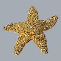 Swarovski Gold STAR FISH Pin Brooch pave crystal  1707608