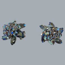 Domed iridescent pale blue crystal rhinestones Sherman earrings