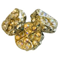 3 Gold tone and rhinestones vintage deep buttons