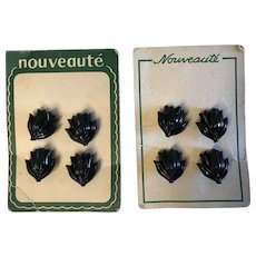 8 Vintage black plastic  flower tulip shaped button on 2 cards FRENCH