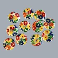 11 Colourful daisy flower buttons - Vintage plastic
