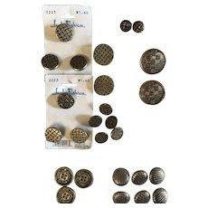 Lot of vintage  27 metal basketweave buttons