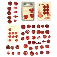 lot 50 + Vintage red buttons lips, duck, wheel, see through, cardboard
