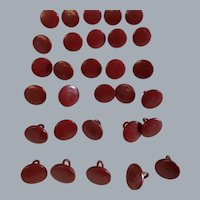 Lot Vintage 30 reddish brown coloured buttons very long shank- faux leather