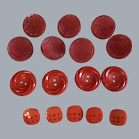 Lot of  16 Vintage RED buttons - plastic- off centered shank