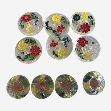 Lot of vintage glass button colourful flowers