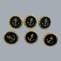 Lot 6 vintage black and gold coloured  anchor buttons with shanks -15 mm